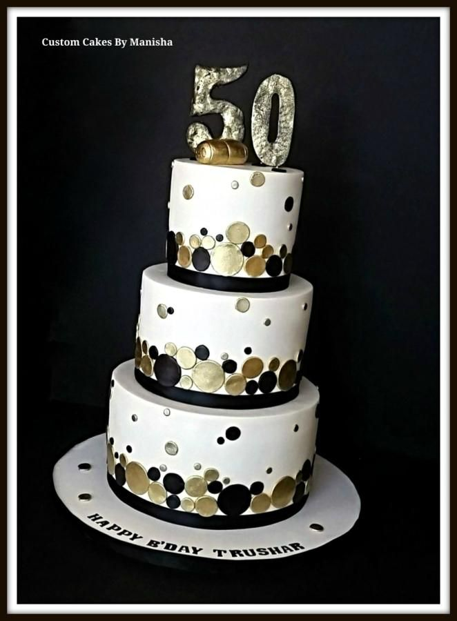 Whiteblack And Gold Champagne Themed 50th Bday Cake
