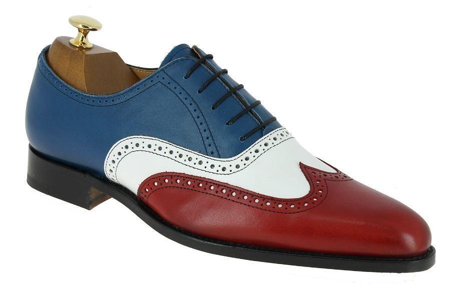 5cb4e7321f431 Handmade men three tone shoes, men dress wingtip shoes, leather ...