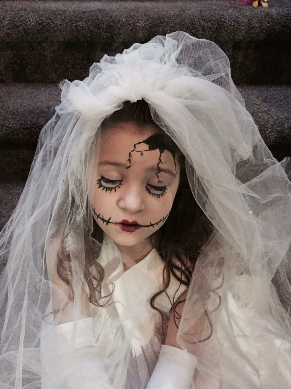child's halloween costume broken porcelain doll. | halloween