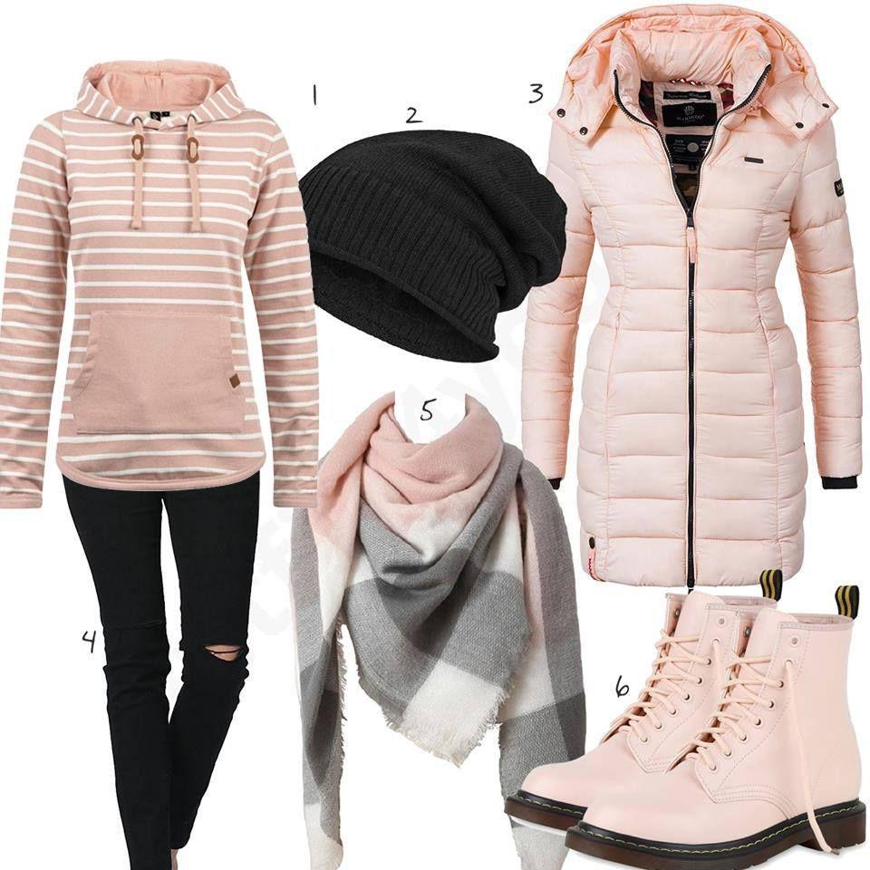 Schwarz Rosa Damenoutfit Fur Den Winter 2018 Hoodie Outfit Outfit Und Winterkleid