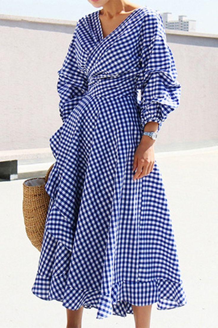 A| Chicloth Womens Casual V Neck Lantern Sleeve Plaid Miid Irregular Dress