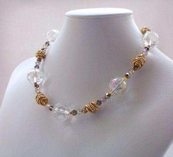 Swarovski Crystal Beaded Necklace Gold Jewelry by ElsaWadesJewelry