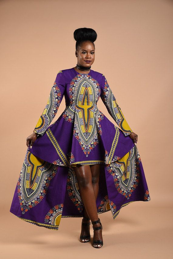 e96d3937ca3 Available in size S-XXL 100% African print cotton By Rahyma. Purple Dashiki High  Low Dress ...