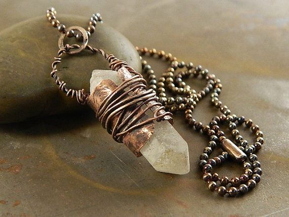 Mens necklace Pendant necklace for men Mens jewelry Silver and Copper mens pendant handmade jewelry for men