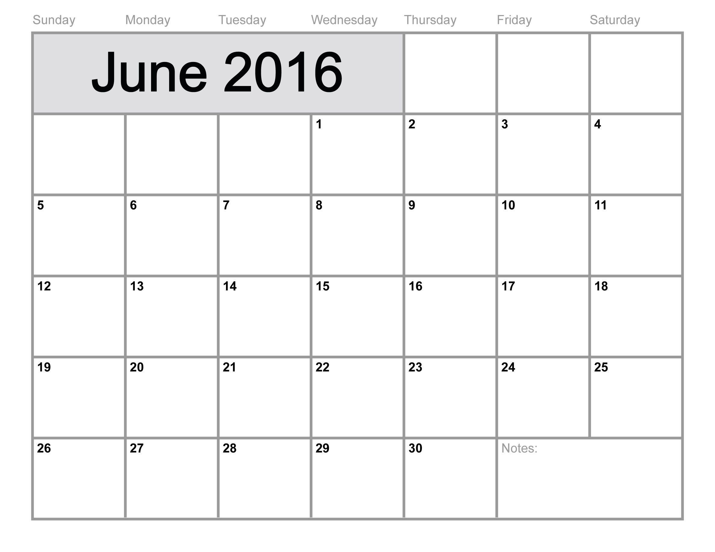 june2016calendarprintablefreeblankcalendar20164jpg – Free Blank Calendar
