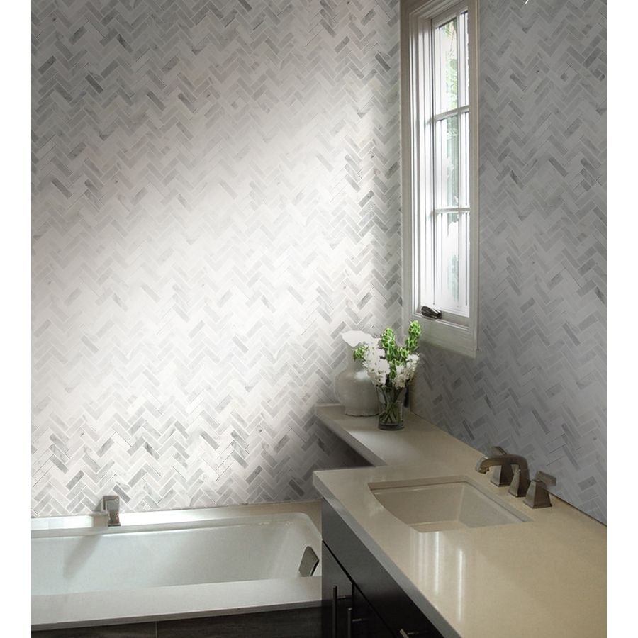Shop allen + roth Genuine Stone White Marble Natural Stone Mosaic ...