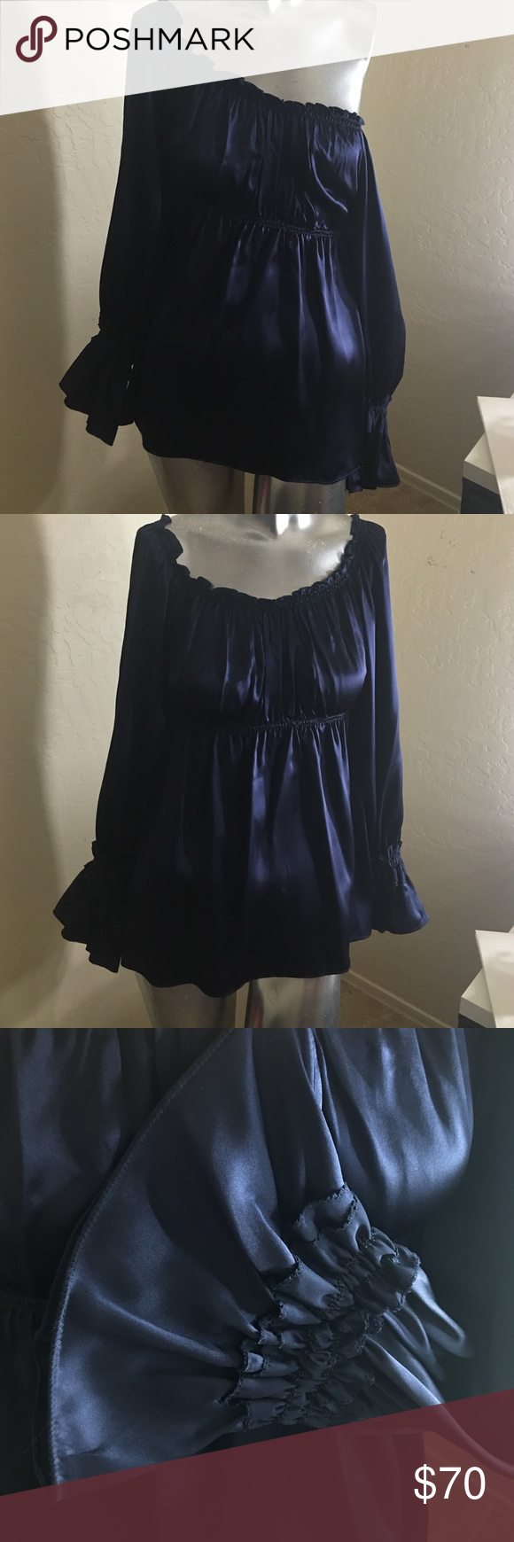 Max Studio MSSP small 100% silk Bohemian NWT Blue Max Studio MSSP Navy Blue 100% silk blouse, retails for $88.00 is new with tag, beautiful blouse look at the gathering around the waist, and the sleeves are very elegant! Can be worn on or off the shoulder. 👑 💙 Max Studio MSSP Tops Blouses