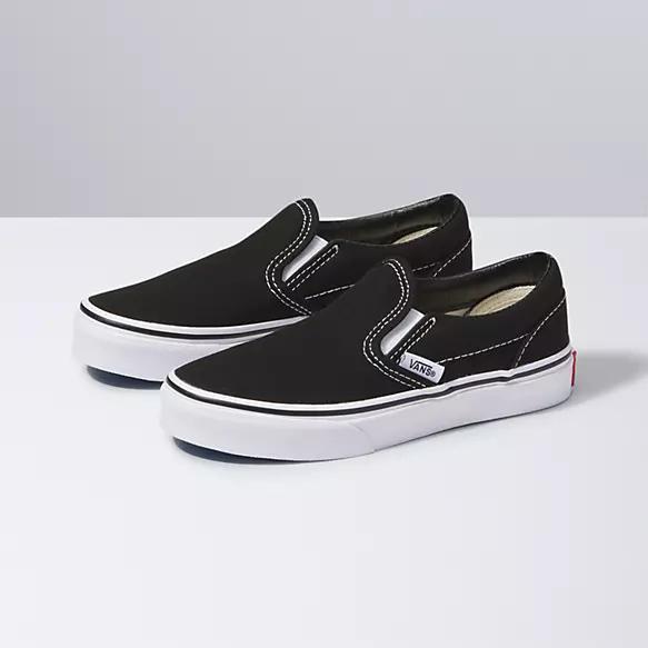 girls black slip on vans