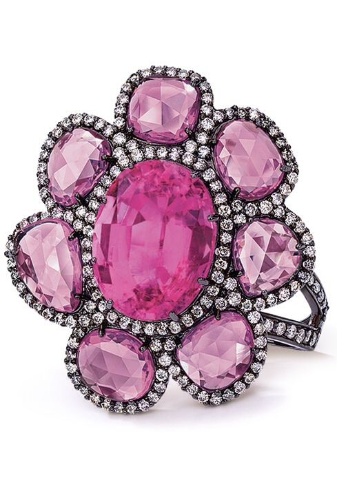 Pink Tourmaline and Sapphire Ring by Cellini Jewelers, Haute Tramp