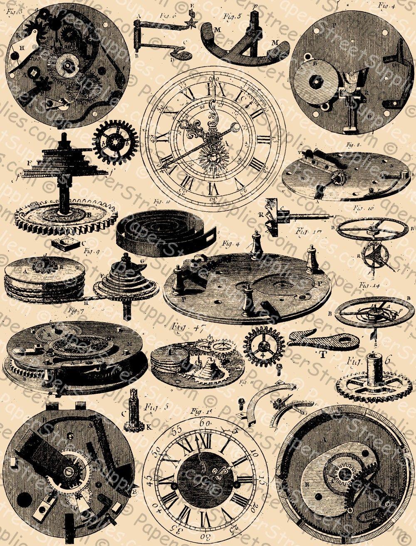 Clockwork Fic Steampunk Clock Digital Collage