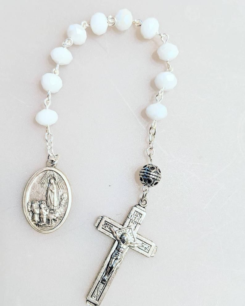 Silver 8mm Pink Opal Gemstone One Decade Catholic Rosary Bracelet Our Lady of Fatima