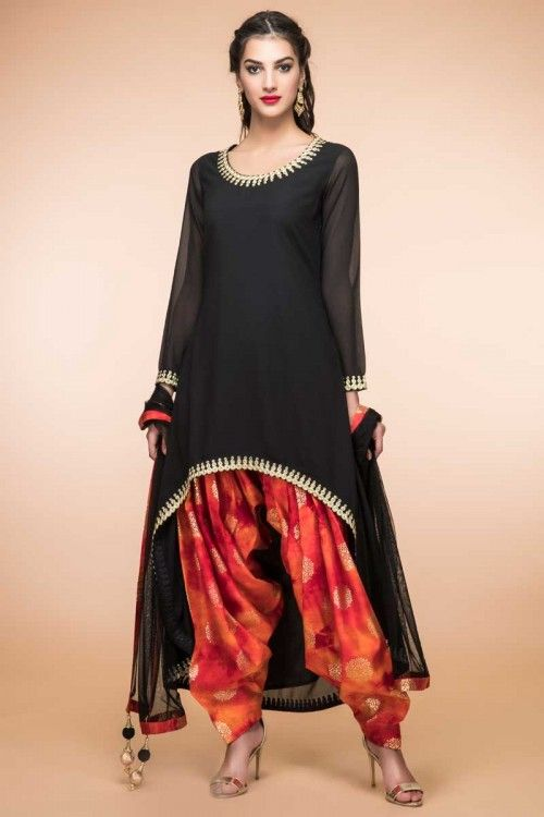 Black Georgette Trail Cut Patiala Suit With Dupatta Online (1811) http://