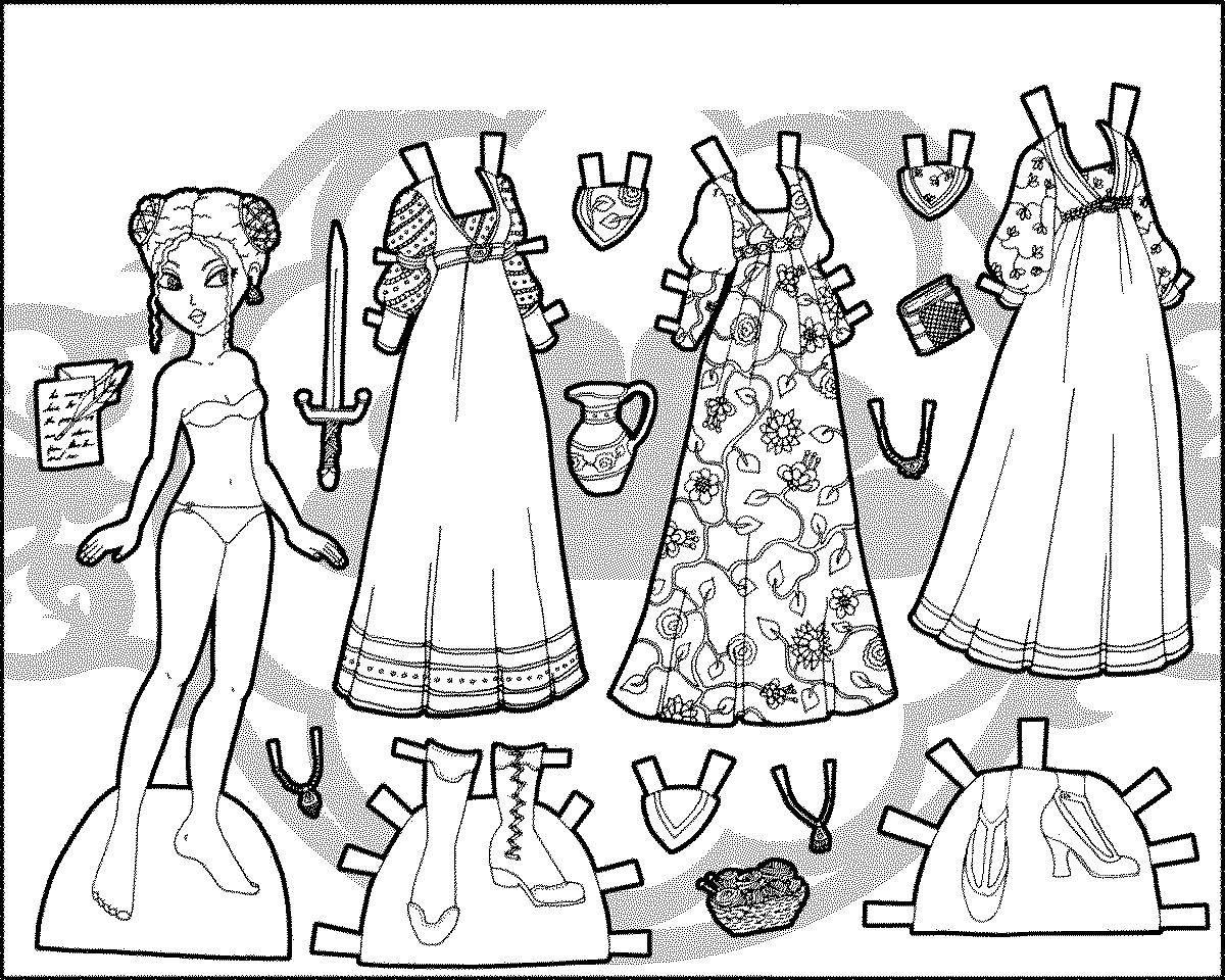 Бумажная одежда для кукол раскраска | Шаблон бумажной ...