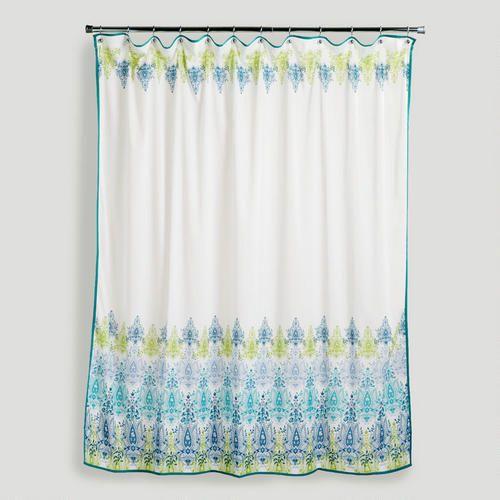 Blue Green Print Shower Curtain Via Cost Plus World Market 23 99