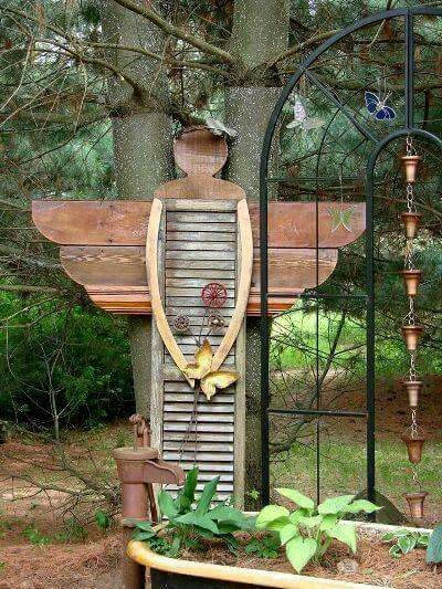 Garden Yard Art Ideas 2 12 foot blue tequilarusticsculpturemetal artgarden Shutter Angel Save Some Of Those Old Shutters Garden Angelsgarden Craftsgarden