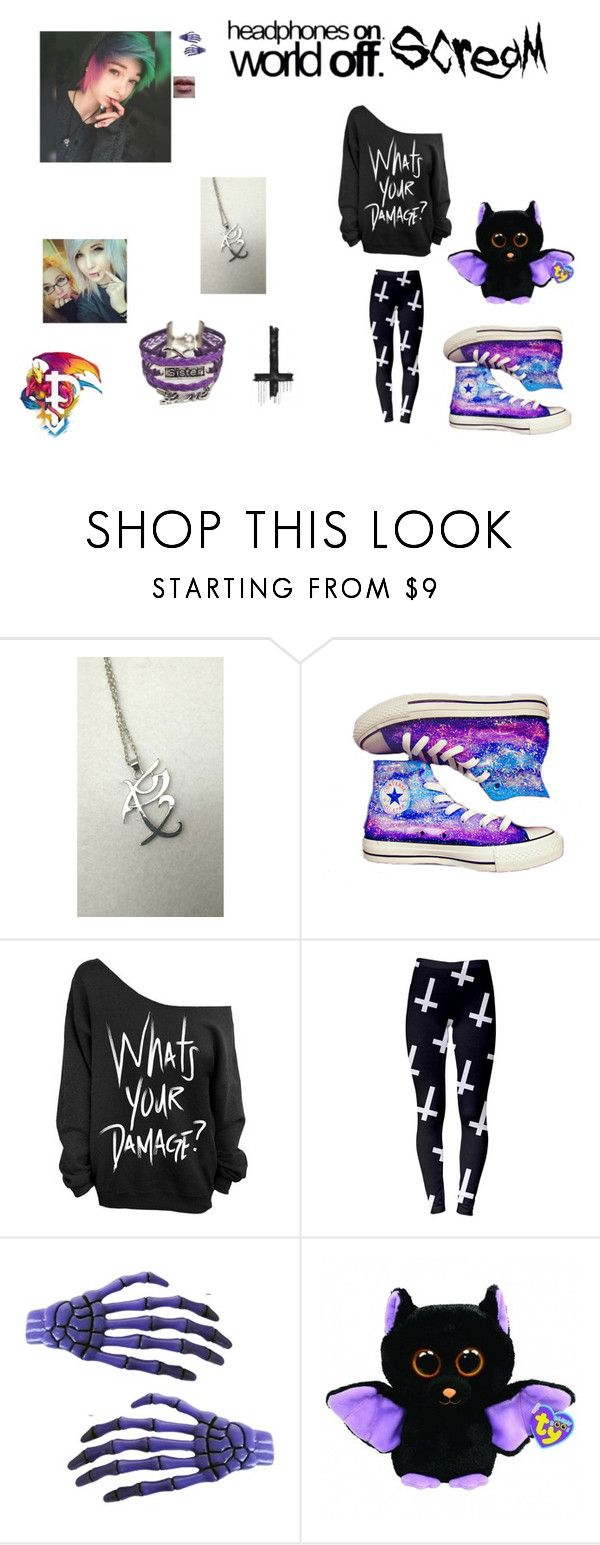 """I just need my sister"" by zoeythehumanespeon ❤ liked on Polyvore featuring Rune NYC, Converse, Kreepsville 666 and Garcia"