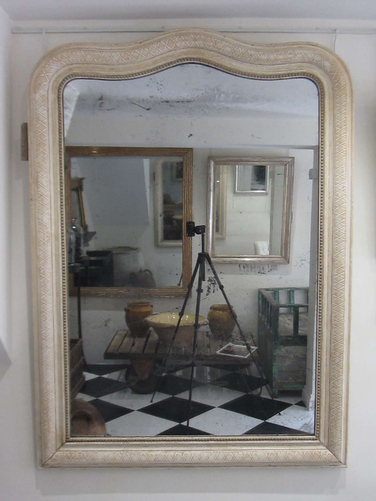 Serpentine Louis Philippe French mirror with bleached