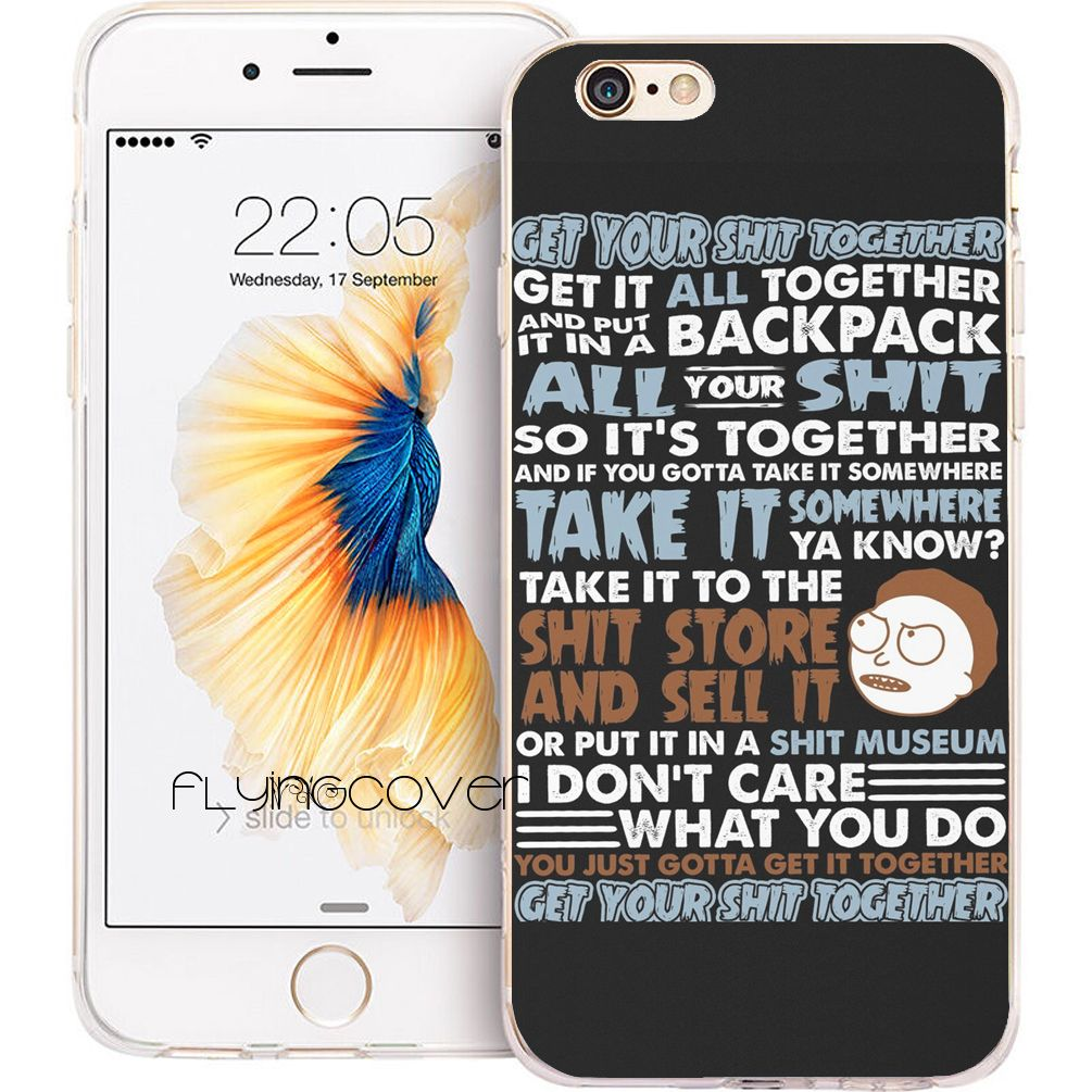 Coque RICK MORTY Quotes Clear Soft TPU Silicone Phone Cover For IPhone 7 7Plus Case