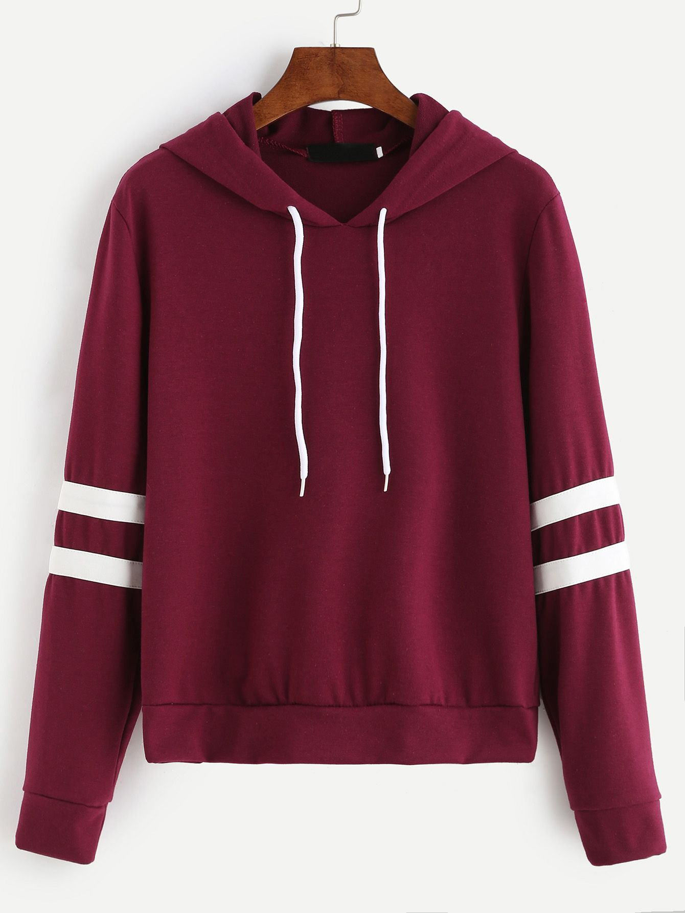 722a8b72856 Burgundy Varsity Striped Drawstring Hooded Sweatshirt Mobile Site ...