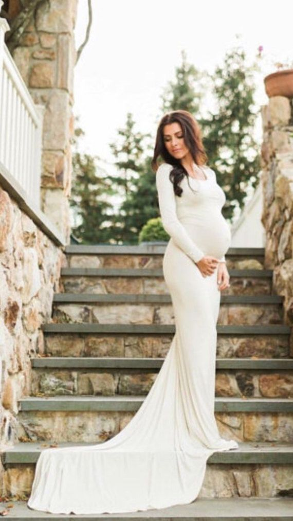 e6a4ddf303e5a Cream Jersey Long Sleeves Slim fit Maternity Gown, Maternity Dress,  Maternity Wedding Gown