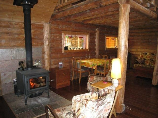 Cheerful Fire In The Wood Stove Uncle Howard S Log Cabin