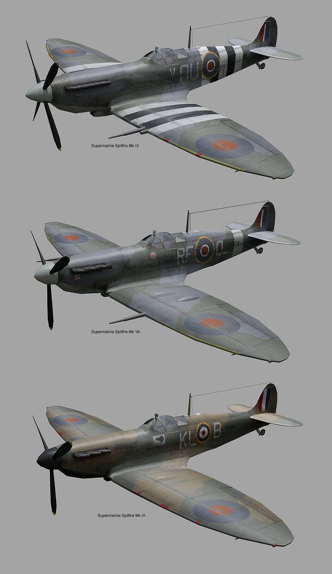 3 Spitfire variants by robfleet on DeviantArt