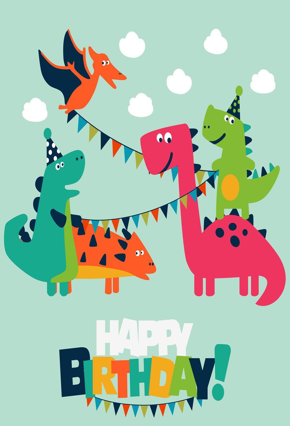 Динозавр открытка с днем рождения