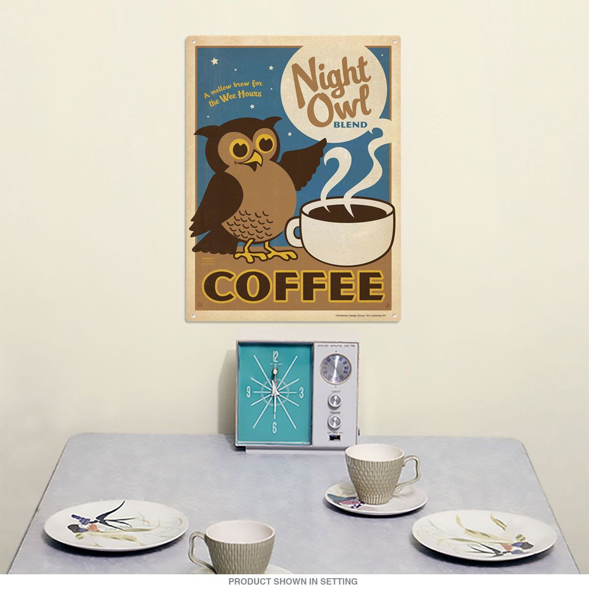 Night Owl Coffee Blend Metal Sign 12 X 16 Kitchen Decor