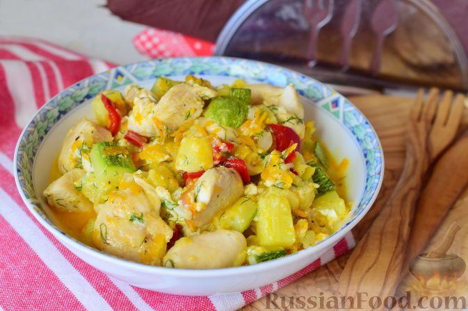 Рецепт Овощи, тушенные с куриным филе, cостав: куриное ...