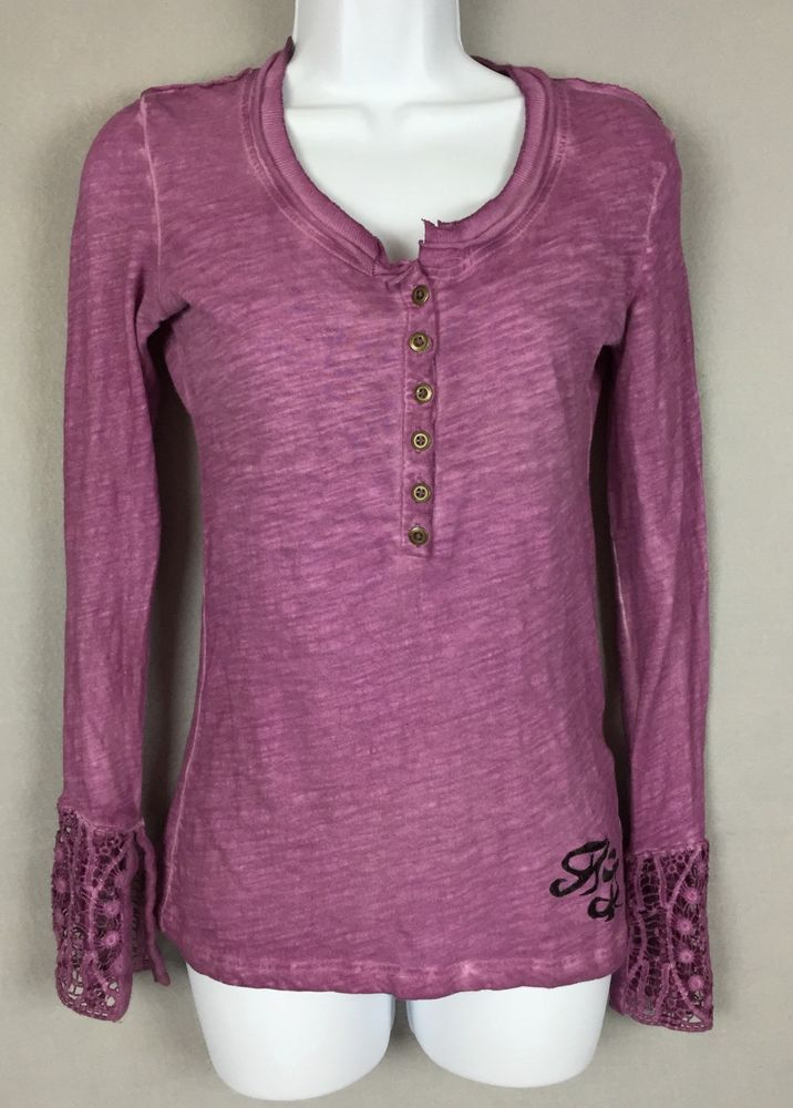 Harley Davidson #Womens #Lace Cuff Henley Top Size XS Cotton Purple 96248-15VW  #HarleyDavidson #KnitTop
