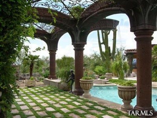 mediterranean patios pergolas stucco terraces water. Black Bedroom Furniture Sets. Home Design Ideas