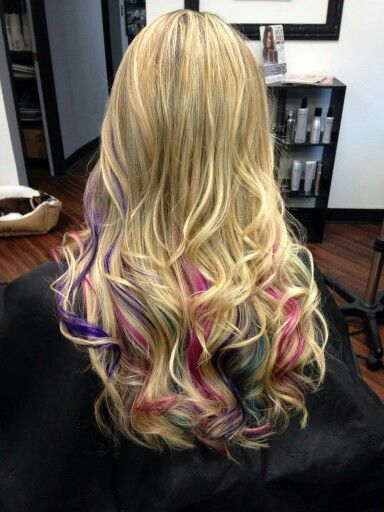 Blonde Hair With Teal Purple And Fuchsia Peekaboo Highlights