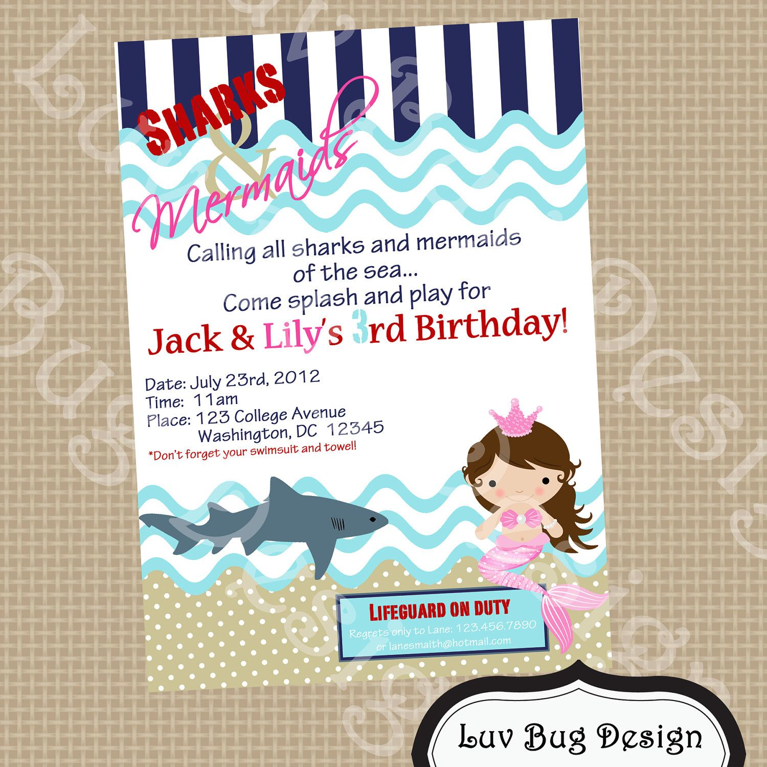 Sharks & Mermaids Invitation Printable party invitation by Luv Bug ...