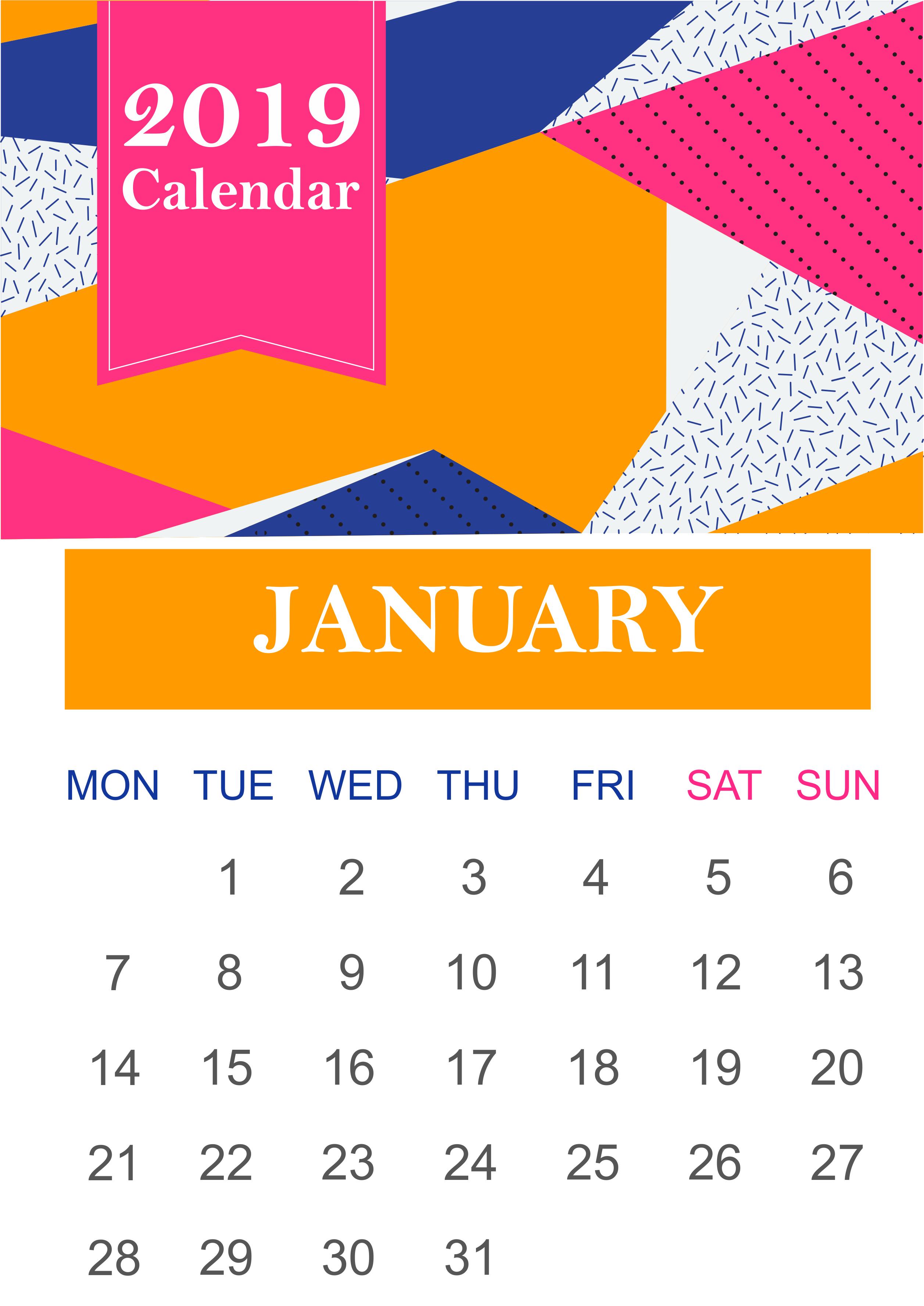Printable Calendar 2019 January January 2019 Blank Template