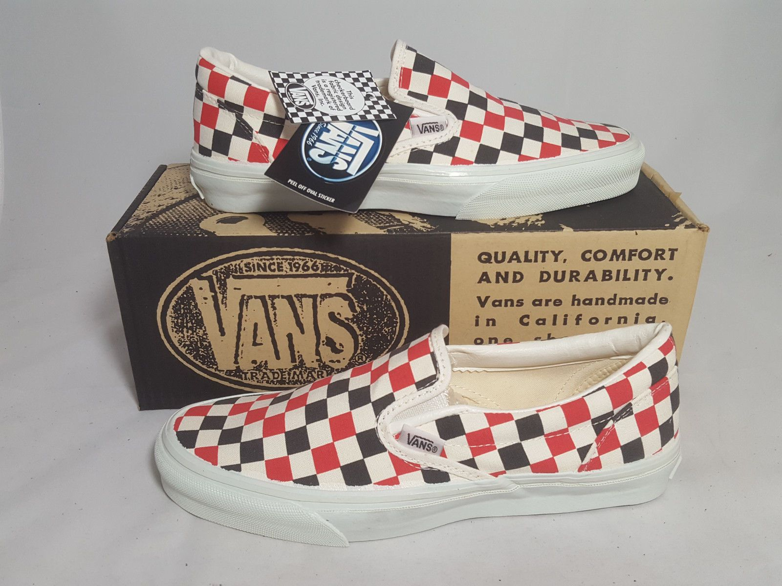 75442217f7 Vintage Vans SLIP ON Shoes MULTI CHECKERS made USA Men s Size 9 NOS Old  Skool SK8