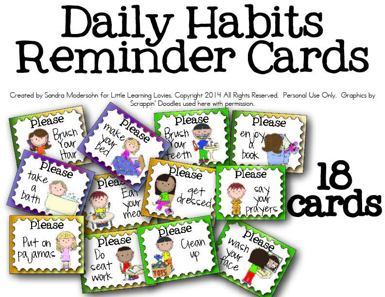 free daily routine cards for kids routine learning and free