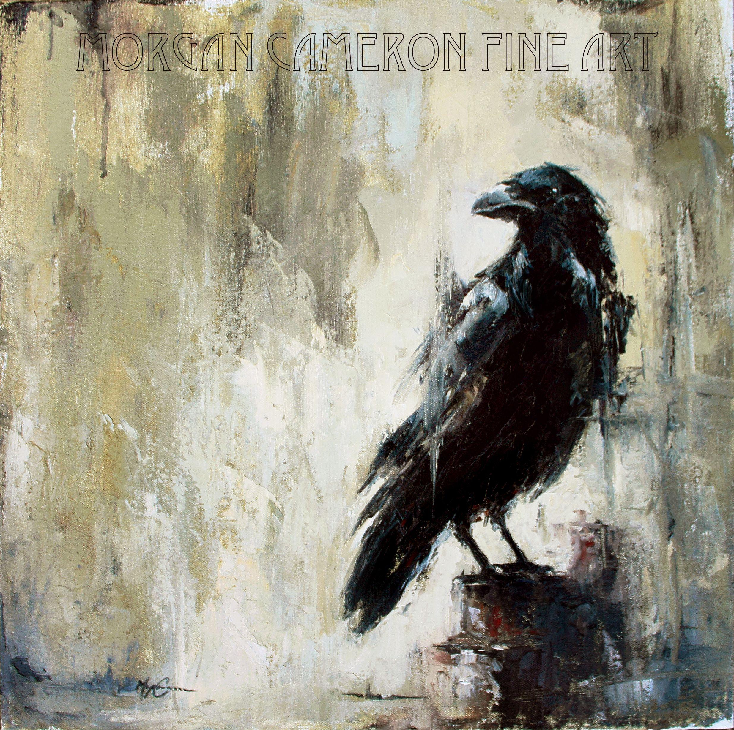 "Raven art/ painting. ""Nevermore"" 20x20"" oil on canvas Morgan Cameron Fine Art www.facebook.com/morgancameronart & morgancameronart.com"