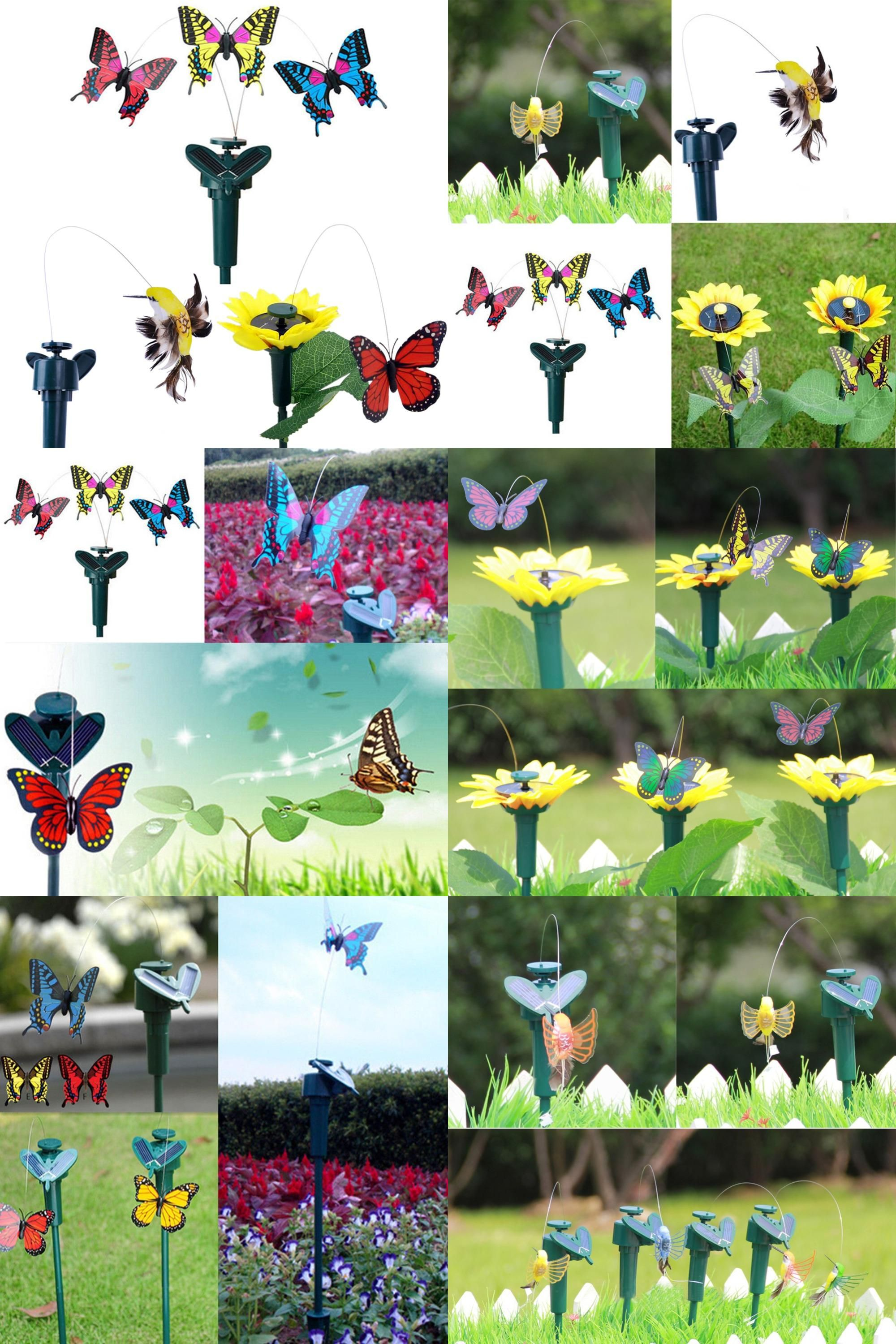 Vibration Solar Power Dancing Flying Fluttering Butterflies Garden Decor NEW