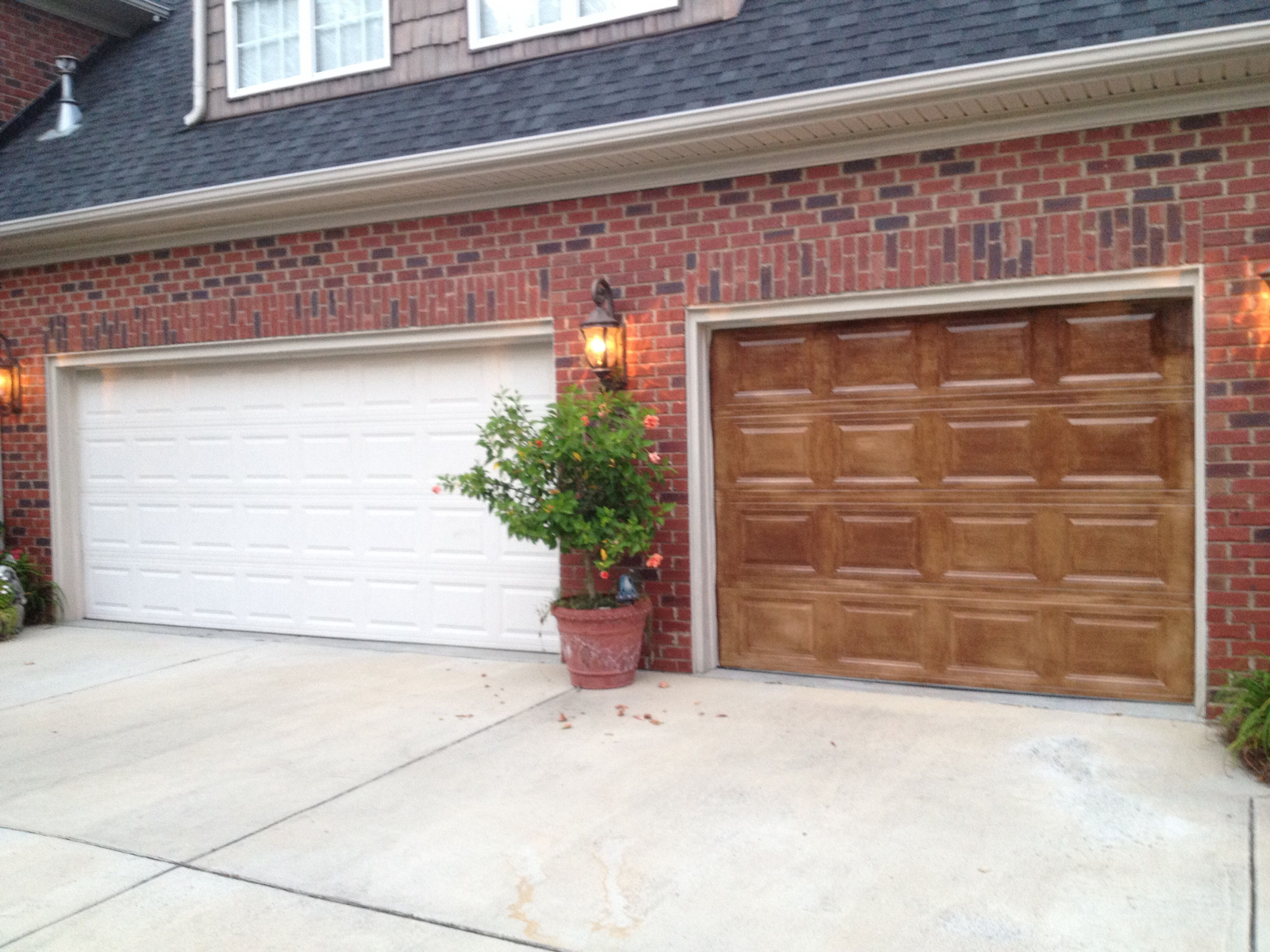 garage door color ideas for orangebrick house - Gel stained garage doors to look like wood