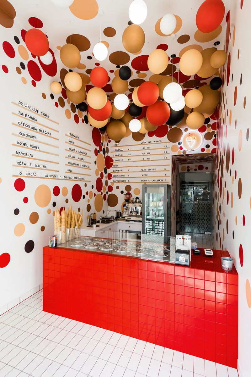 This Ice Cream Shop In Poland Used A Combination Of Colorful Dots