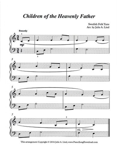 Children Of The Heavenly Father Free Piano Sheet Music To