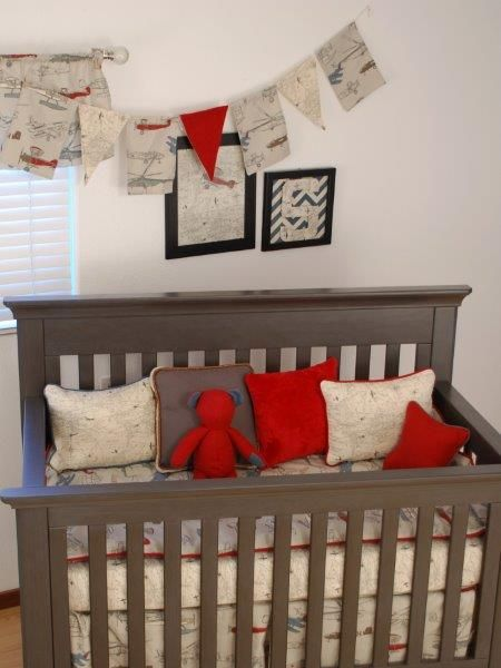 Map print and vintage plane crib bedding with red for a toddler map print and vintage plane crib bedding with red for a toddler gumiabroncs Gallery