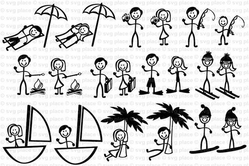 Stick Figure People Vacation Themed SVG File Collection