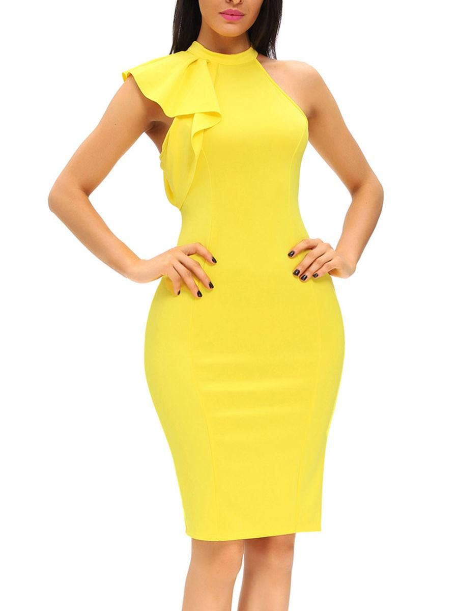 Solid band collar bodycon dress with one ruffle sleeve pinterest