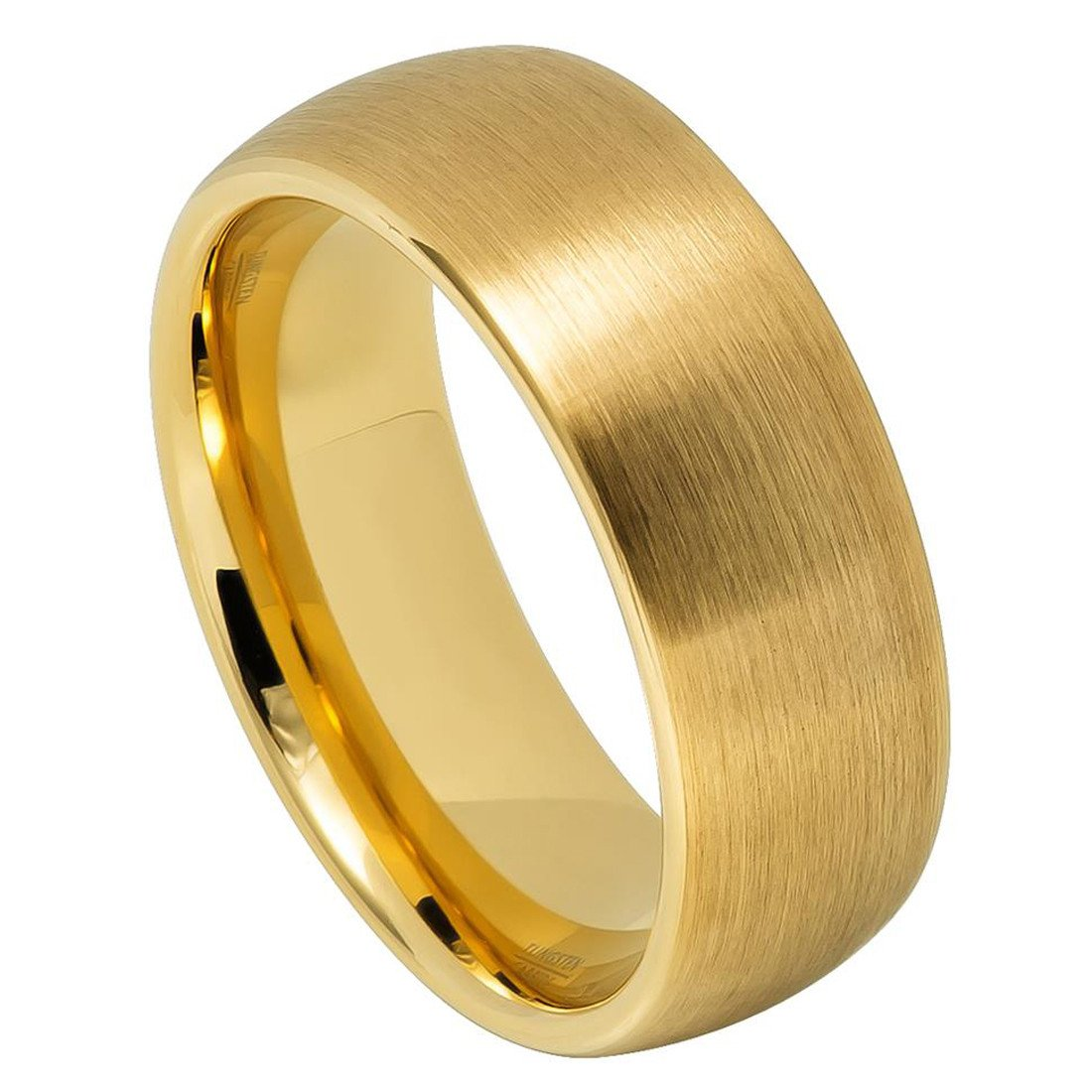 Jewelry & Watches Titanium 14k Yellow Inlay Flat 8mm Wedding Ring Band Size 8.50 Precious Metal 100% High Quality Materials Bridal & Wedding Party Jewelry