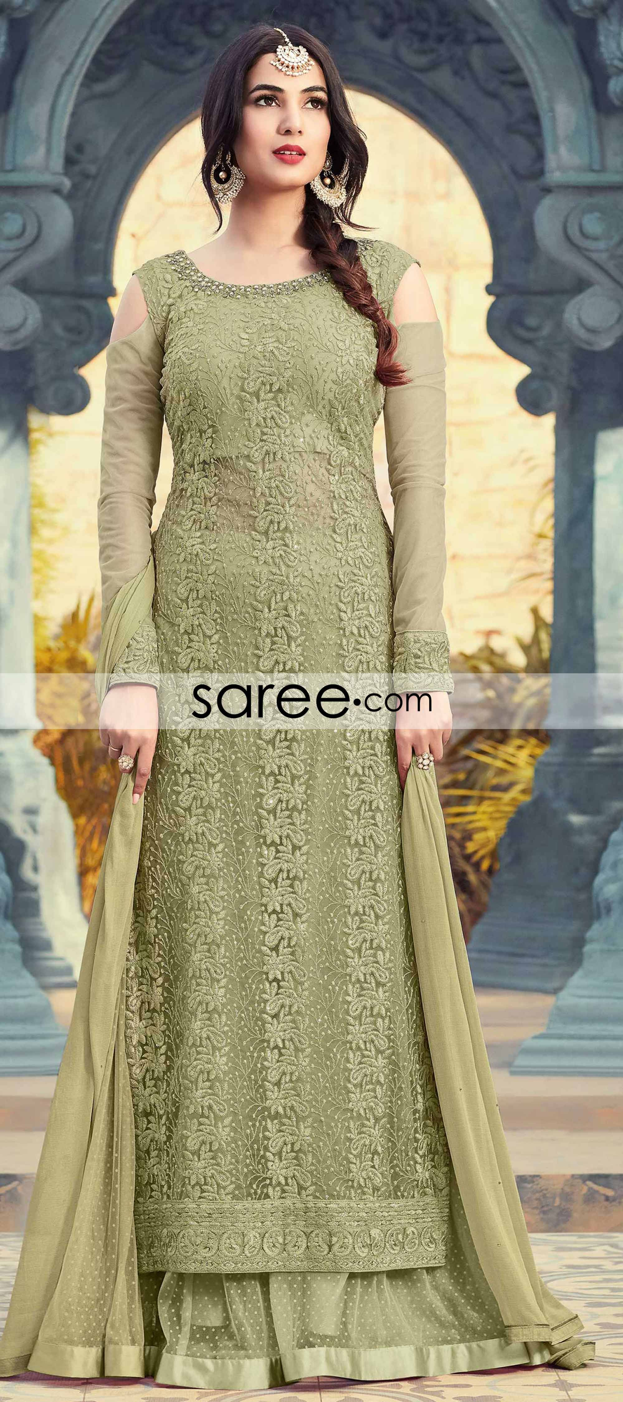 2d2c72775a Sonal Chauhan Henna Green Net Straight Cut Suit with Sharara Style Palazzo