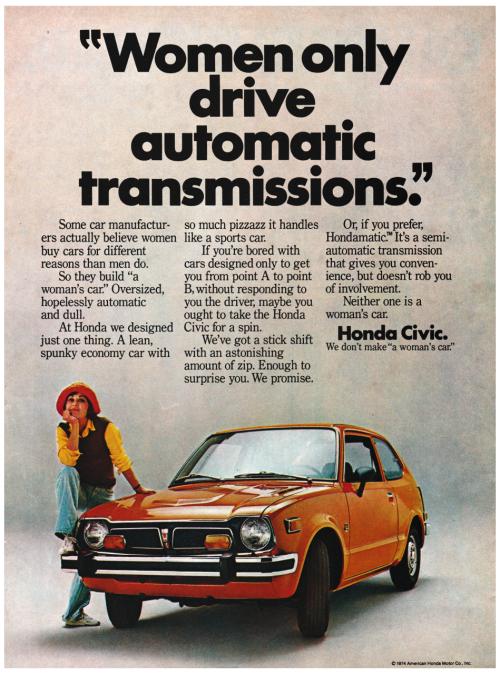 1974 AntiSexism Advertisement for the Honda Civic Honda