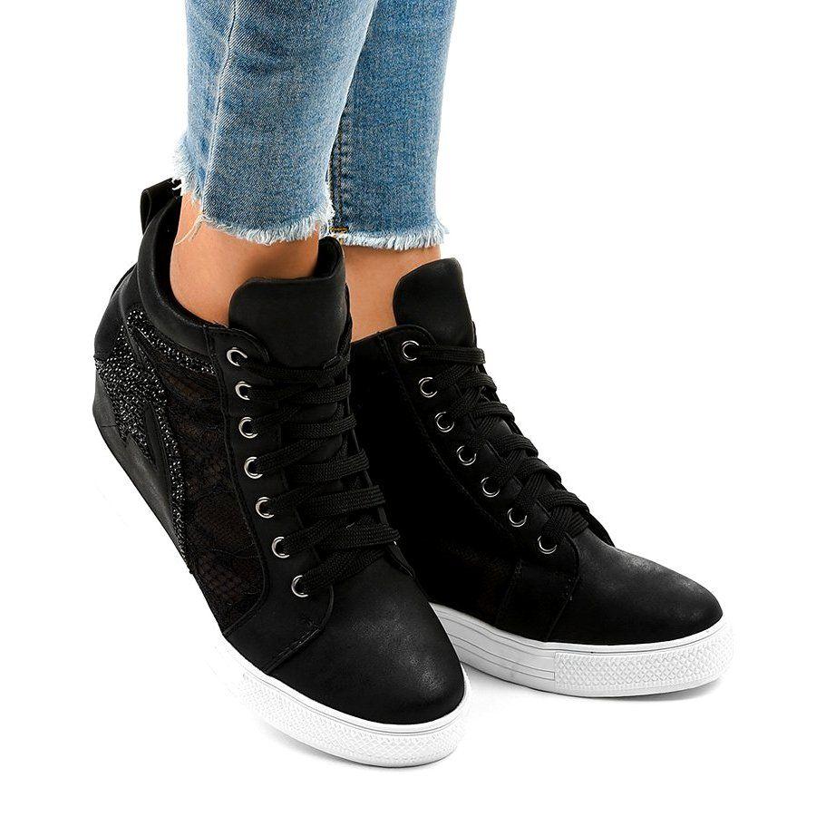 Boots Women S Butymodne Black Lace Up Sneakers Jk 53 Boot Shoes Women Black Wedge Sneakers Sneakers