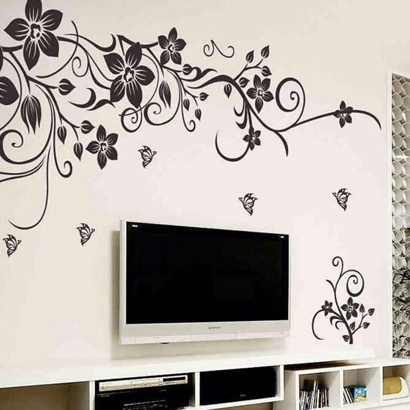 Classic Black Butterfly Flower Vine Wall Sticker European American Style Living Room Bedroom Tv Sofa Backdrop Wall Poster Decal Wall Art Wall Stickers Home Decor Sticker Wall Art