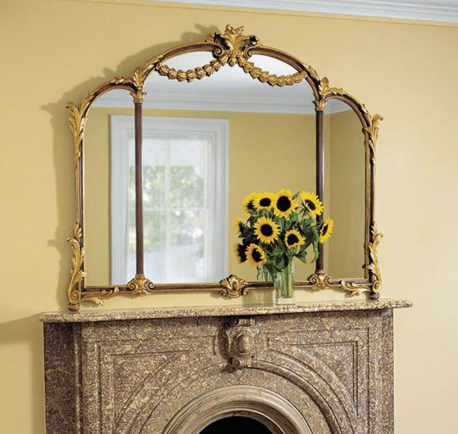 Living Room Decor With Horizontal Louis XV Over Mantel Mirror Above A Marble Fireplace